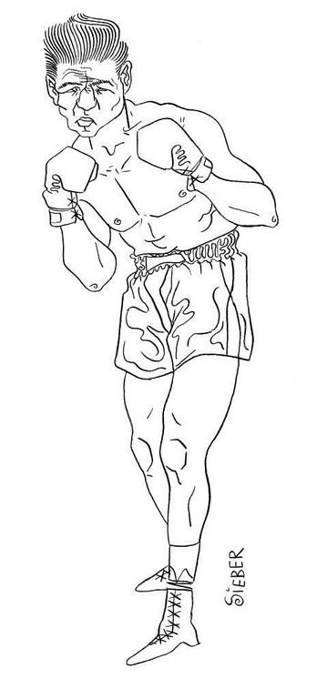 Zeichnung 45  Boxer 2  Tusche auf Karton,2006,  30 x 40 cm
