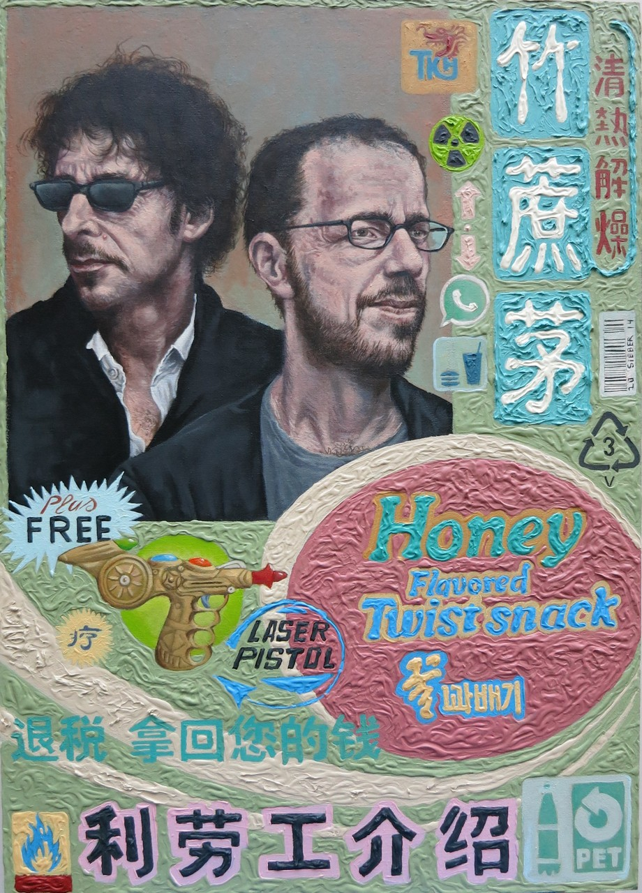 Gemälde  480.Joel & Ethan  Twist Snack , Acryl auf Hartfaserplatte ,2014, 50 x 70 cm