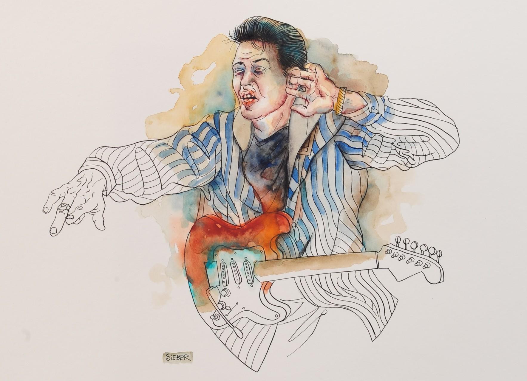 Zeichnung 285 Benny Joy, Tusche,Aquarell auf Karton, 2010, 30 x 40 cm