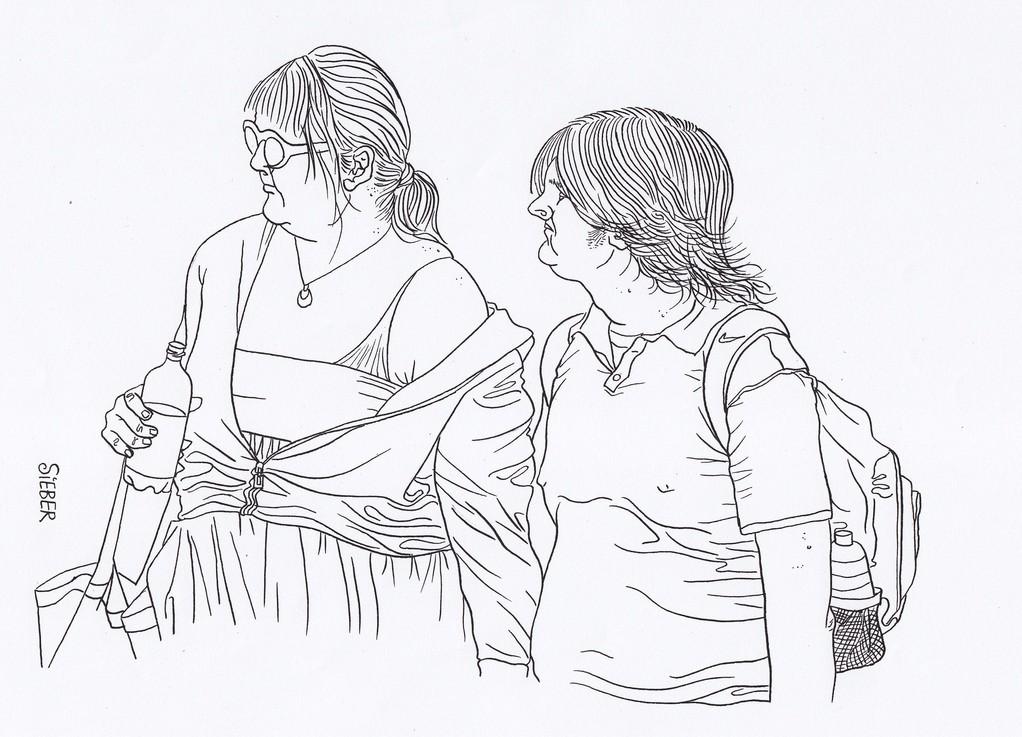 Zeichnung 106  Schulterfrei  Tusche auf Karton,2008,   30 x 40 cm