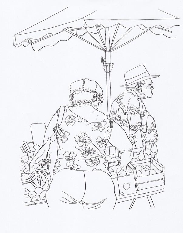 Zeichnung 82   Fruchtfleisch  Tusche auf Karton,2008,   30 x 40 cm