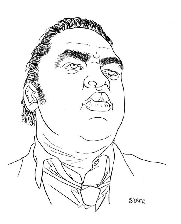 Zeichnung 346  Solomon Burke  Tusche auf Karton,2010, 25 x 32,5 cm
