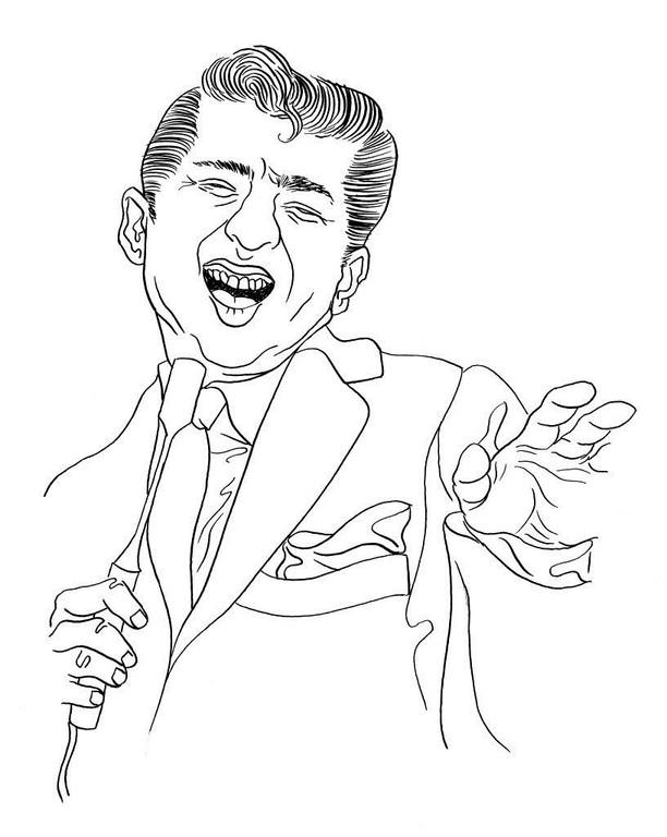 Zeichnung 231  Paul Anka  Tusche auf Karton,2009, 25 x 32,5 cm