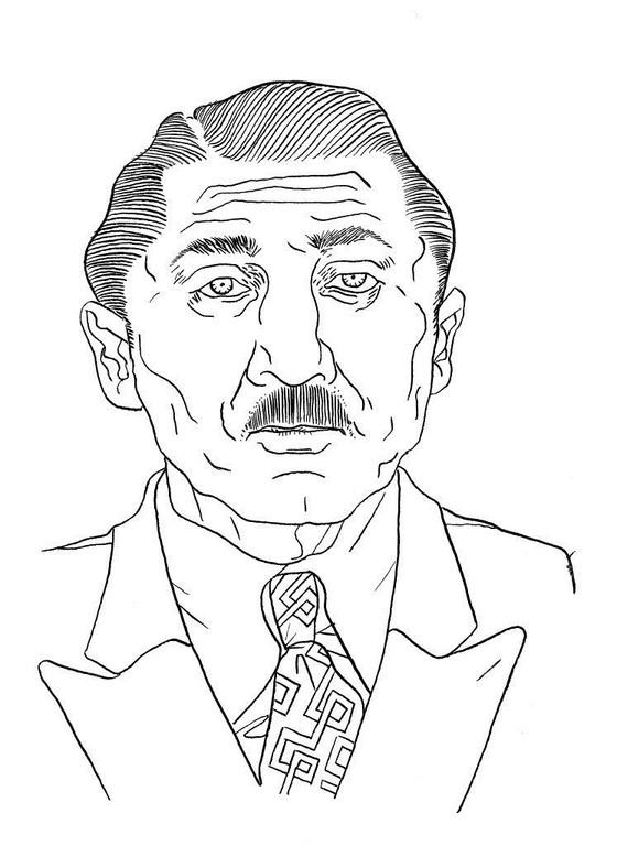 Zeichnung 57  Frank Nitti  Tusche auf Karton  24 x 32 cm