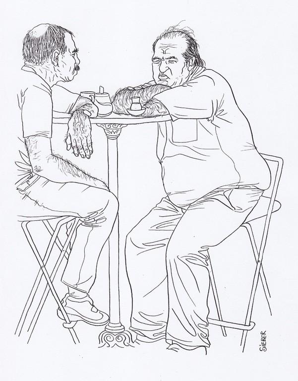 Zeichnung 186  Platzhirsch    Tusche auf Karton,2009,  30 x 40 cm
