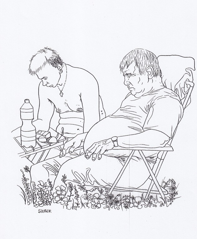 Zeichnung 169  Laubenpieper    Tusche auf Karton,2009,   30 x 40 cm