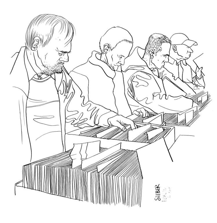Zeichnung 146   Schallplattenbörse 2  Tusche auf Karton,2009, 30 x 40 cm