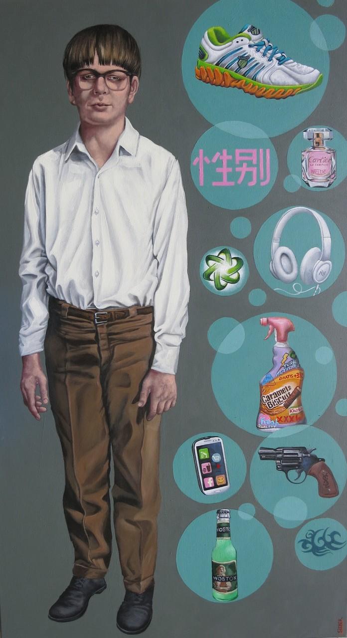 Gemälde 494, Bubble Man, Acryl auf Leinwand ,2015, 80 x 145 cm