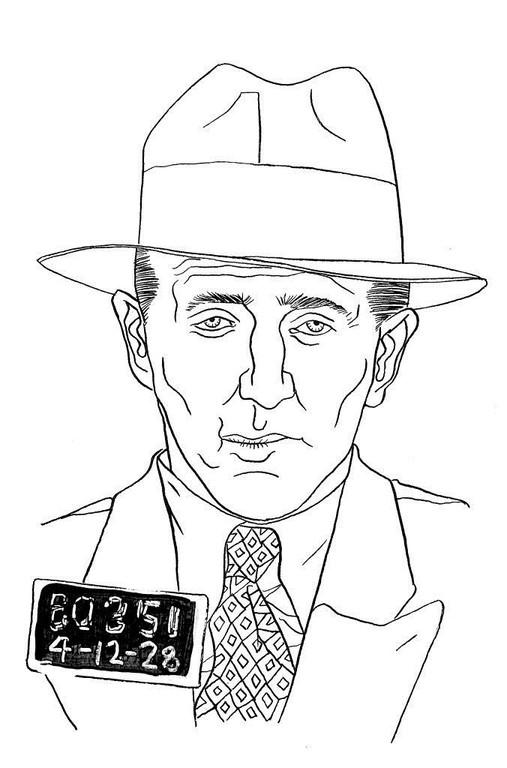 Zeichnung 59  Bugsy  Siegel Tusche auf Karton,2006,  24 x 32 cm