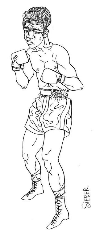 Zeichnung 44  Boxer 1  Tusche auf Karton ,2006, 30 x 40 cm