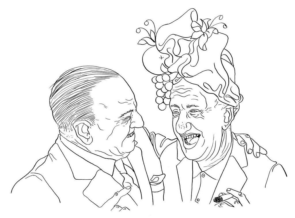 Zeichnung 78  Jimmy Durante  Tusche auf Karton 24 x 32 cm