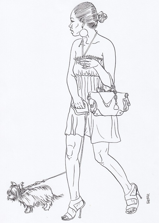 Zeichnung 219  Tussi an der Leine   Tusche auf Karton,2009,   30 x 40 cm