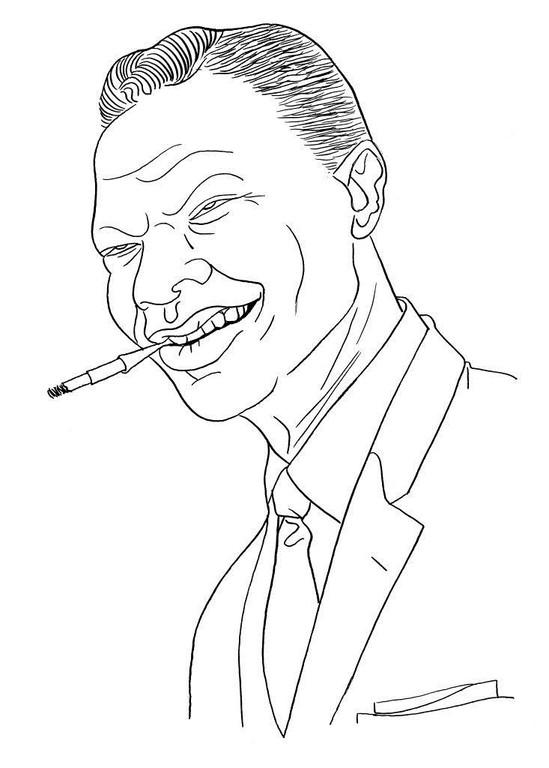 Zeichnung 227  Nat King Cole  Tusche auf Karton,2009, 25 x 32,5 cm