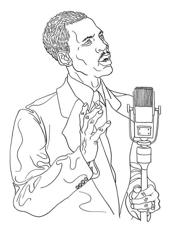 Zeichnung 126  Percy Mayfield  Tusche auf Karton,2009, 25 x 32,5 cm