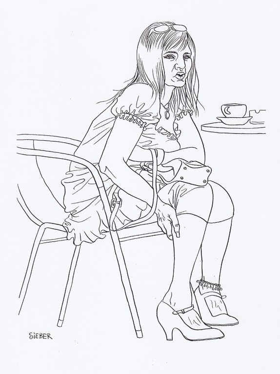 Zeichnung 184  Blondie   Tusche auf Karton,2009,   30 x 40 cm