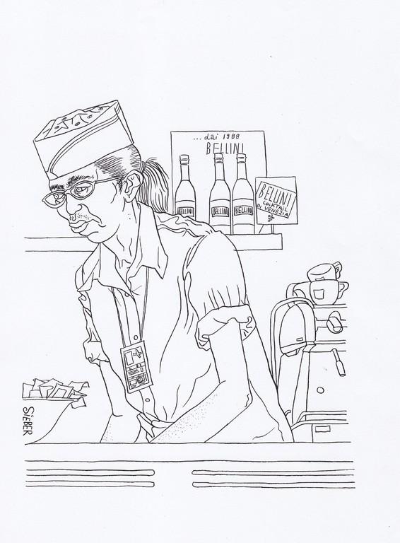 Zeichnung 100   Airport Snack   Tusche auf Karton, 2008,  30 x 40 cm