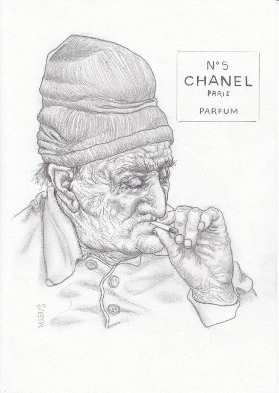 Zeichnung 450  Chanel  No 5  Graphit  auf Karton,2011,  21x30 cm