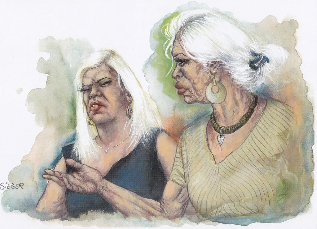 Zeichnung 205  Blondienen  Aquarell, Kreide und Acryl,2009, 24 x 34 cm