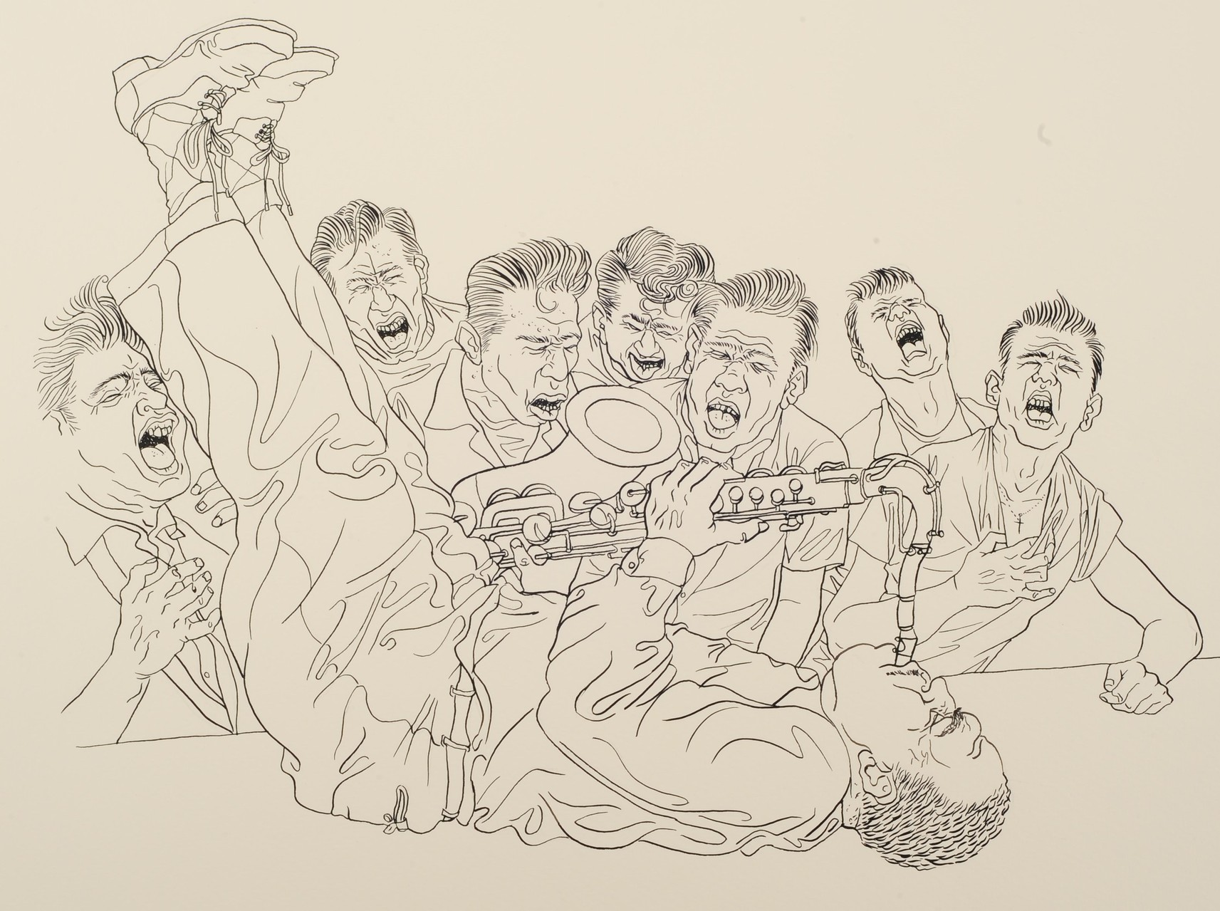Zeichnung 137 Saxophon Schreier, Tusche auf Karton, 2009, 36 x 48 cm