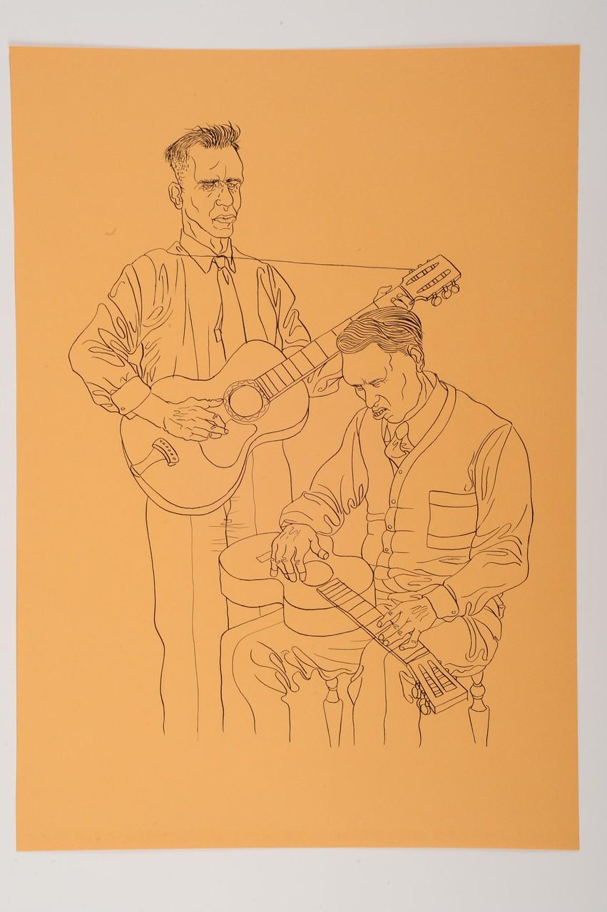 Zeichnung 138 White Blues, Tusche auf Karton ,2009 35 x 50 cm