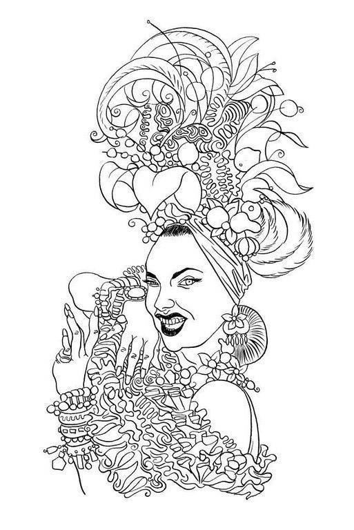 Zeichnung 239  Carmen Miranda  Tusche auf Karton,2009, 25 x 32,5 cm
