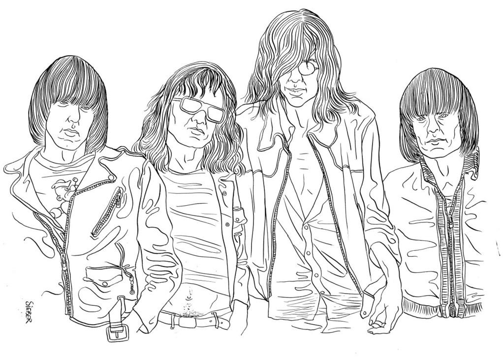 Zeichnung 401  Ramones  Tusche auf Karton,2010, 30 x 40 cm