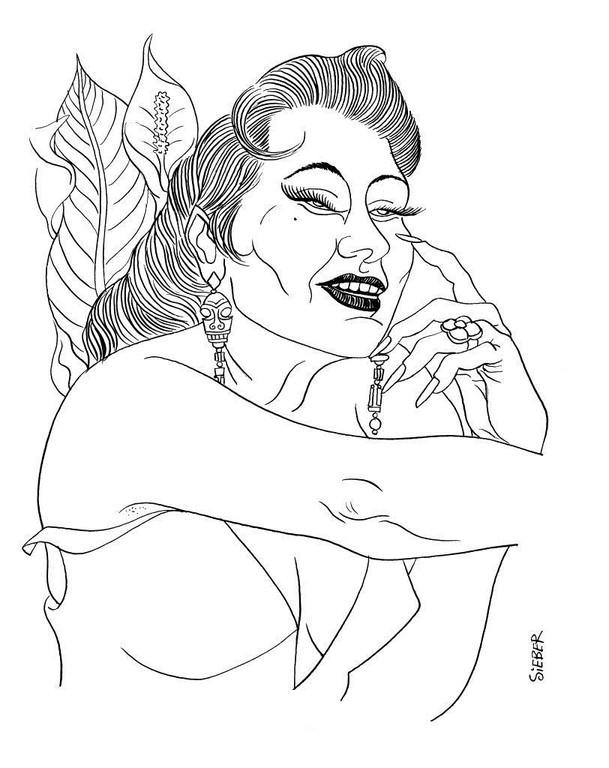 Zeichnung 292  Yma Sumac  Tusche auf Karton,2010,25 x 32,5 cm