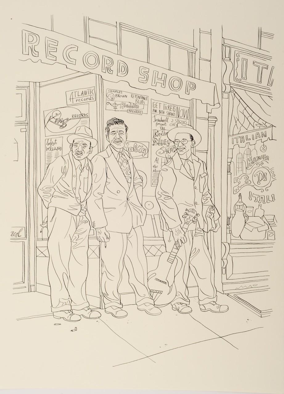 Zeichnung 141 Record Shop, Tusche auf Karton, 2009, 36 x 48 cm