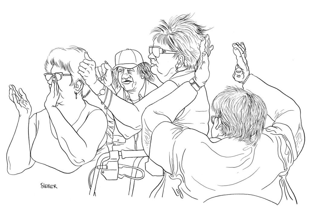 Zeichnung 217   Fans  Tusche auf Karton,2009, 30 x 40 cm