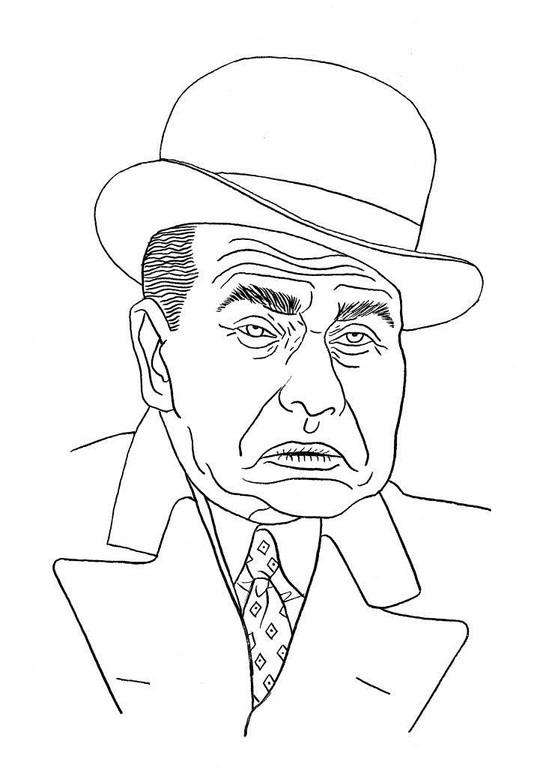 Zeichnung 66  Edward G. Robinson  Tusche auf Karton,2006,  24 x 32cm