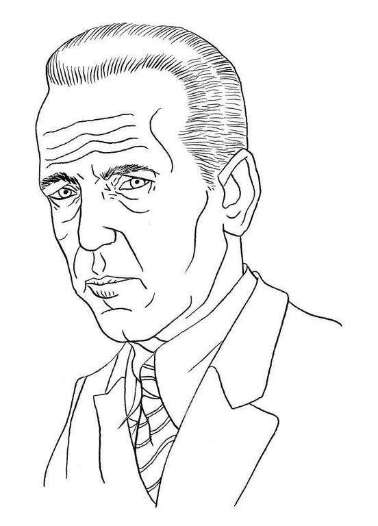 Zeichnung 64  Humphrey Bogart  Tusche auf Karton,2006,  24 x 32 cm