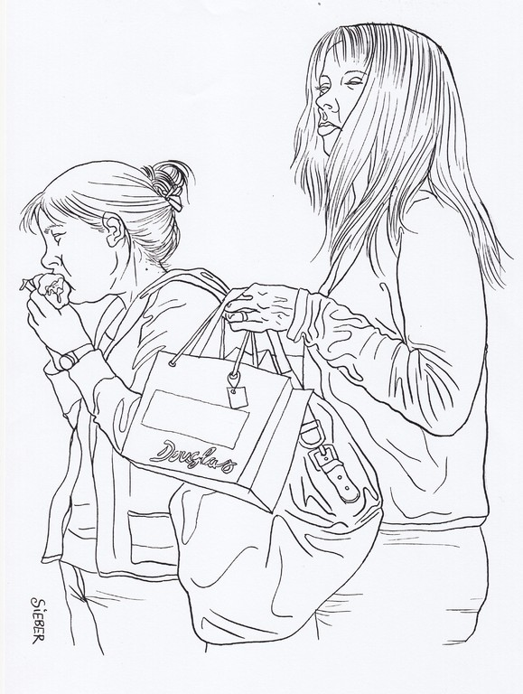 Zeichnung 213  Futtern bei Muttern  Tusche auf Karton,2009,   24 x 34 cm
