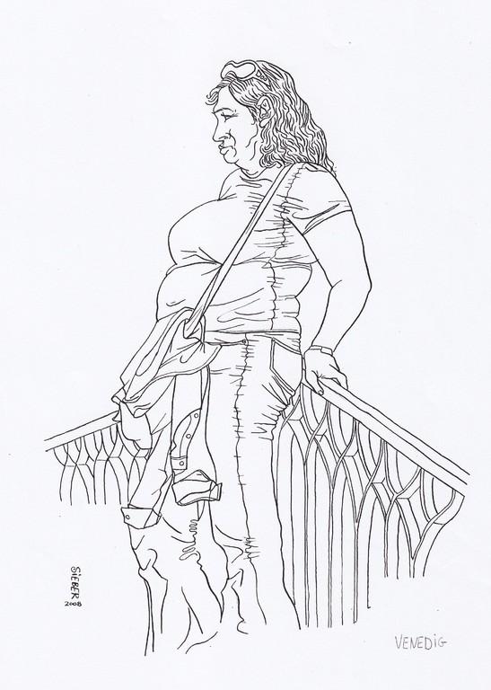 Zeichnung 91   Brücken Klops    Tusche auf Karton,2008,   30 x 40 cm