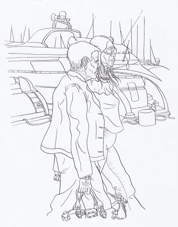 Zeichnung 80   Cote d´Azur,Bandol  Tusche auf Karton,2008,   30 x 40 cm