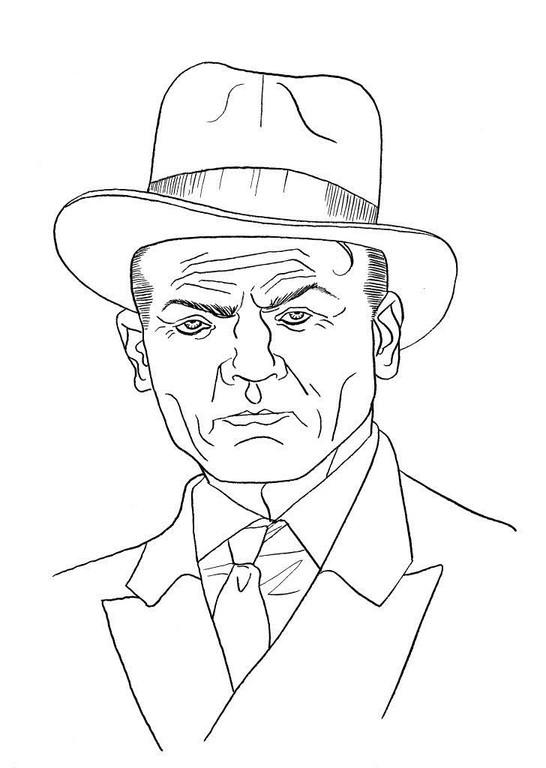 Zeichnung 65  James Cagney  Tusche auf Karton,2006,  24 x 32 cm
