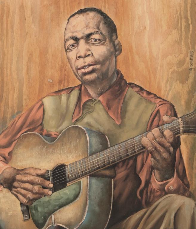 Gemälde 340  John Lee Hooker   Acryl auf Holz,2009,  46 x 53 cm