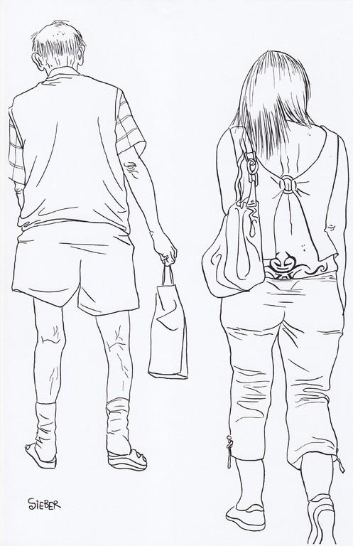 Zeichnung 212  Berlin von hinten  Tusche auf Karton,2009,     24 x 34 cm