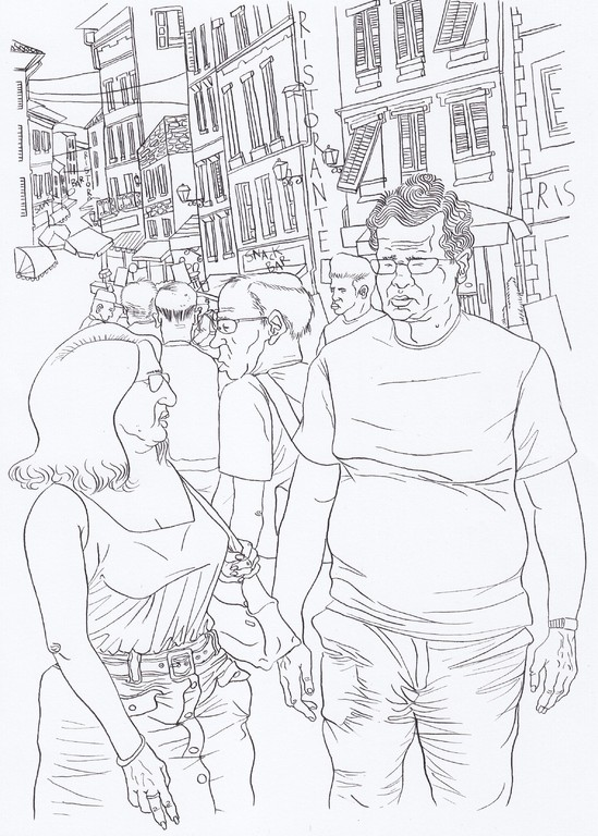 Zeichnung 83    Florenz Bummel   Tusche auf Karton,2008,  30 x 40 cm