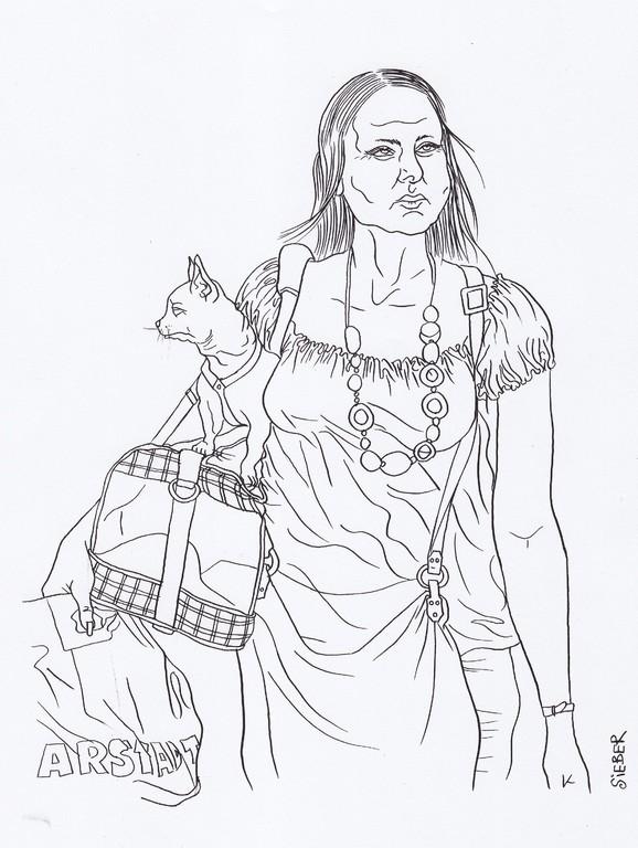 Zeichnung 192  Hundeschmuck  Tusche auf Karton,2009,   30 x 40 cm