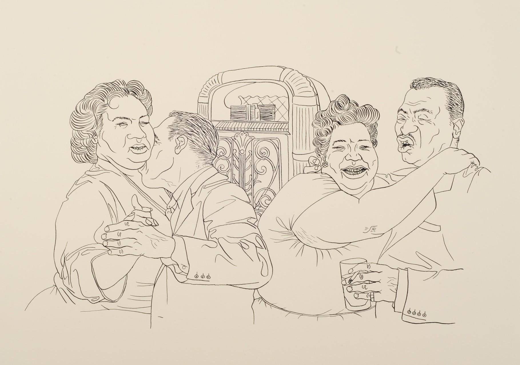 Zeichnung 135 R & B Jukebox, Tusche auf Karton,2009, 36 x 48 cm