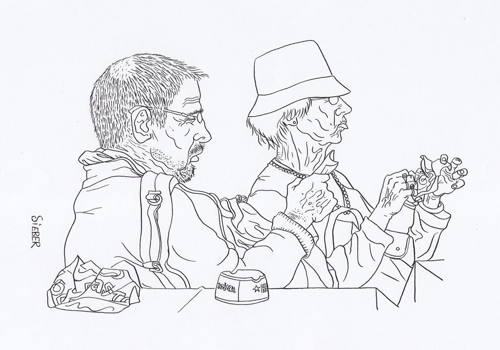 Zeichnung 105   Snack am Kanale  Tusche auf Karton ,2008,   30 x 40 cm