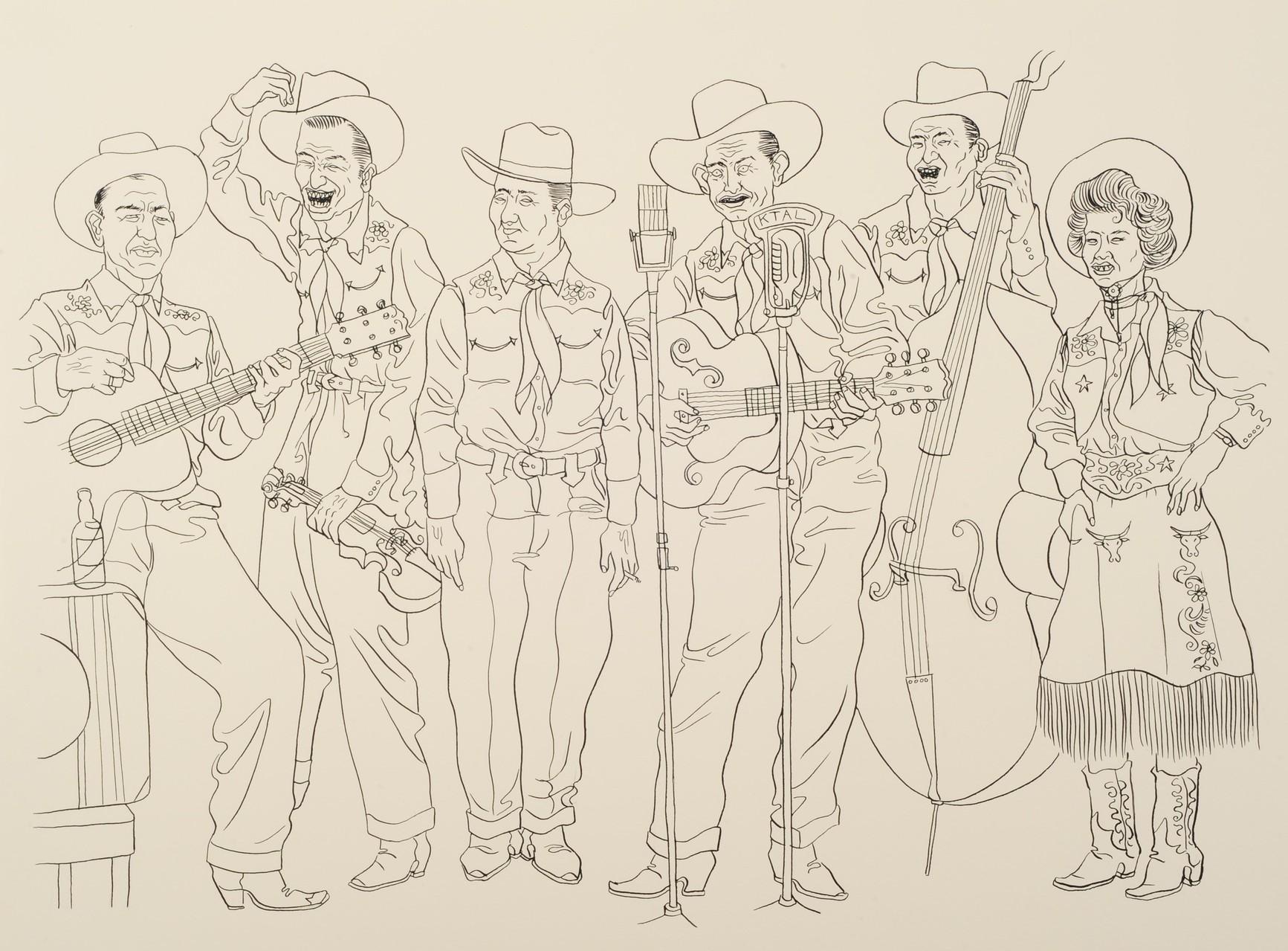 Zeichnung 234 Honky Tonk Band, Tusche auf Karton, 2010, 36 x 48 cm