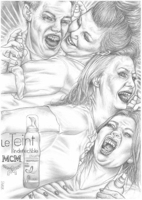Zeichnung 465  Le Teint MCM   Graphit auf Karton,2011,  30x42 cm