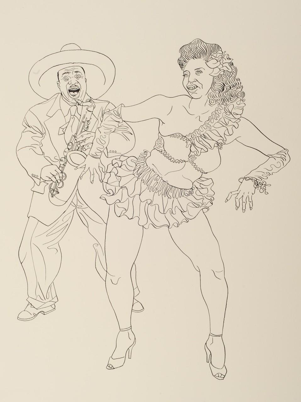 Zeichnung 136 Shake it , Tusche auf Karton, 2009, 36 x 48 cm