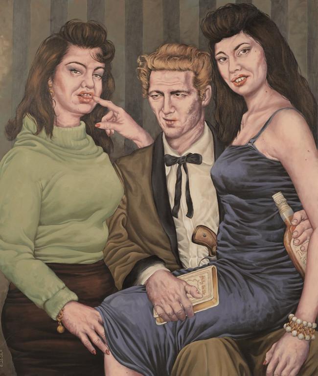 Gemälde 343  Bordell Piano Man, Acryl auf Leinw.,2009, 90 x 105 cm