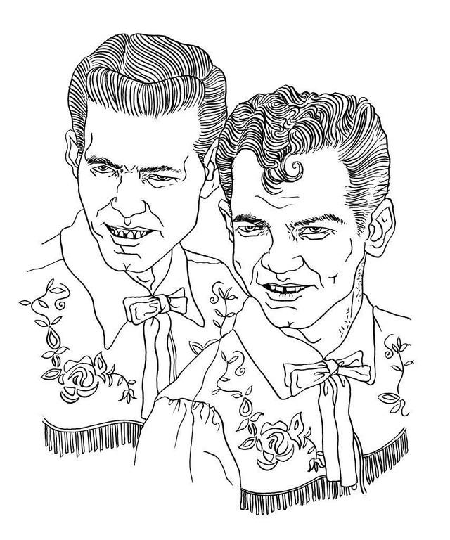 Zeichnung 116  Jimmy & Johnny  Tusche auf Karton,2009, 25 x 32,5 cm