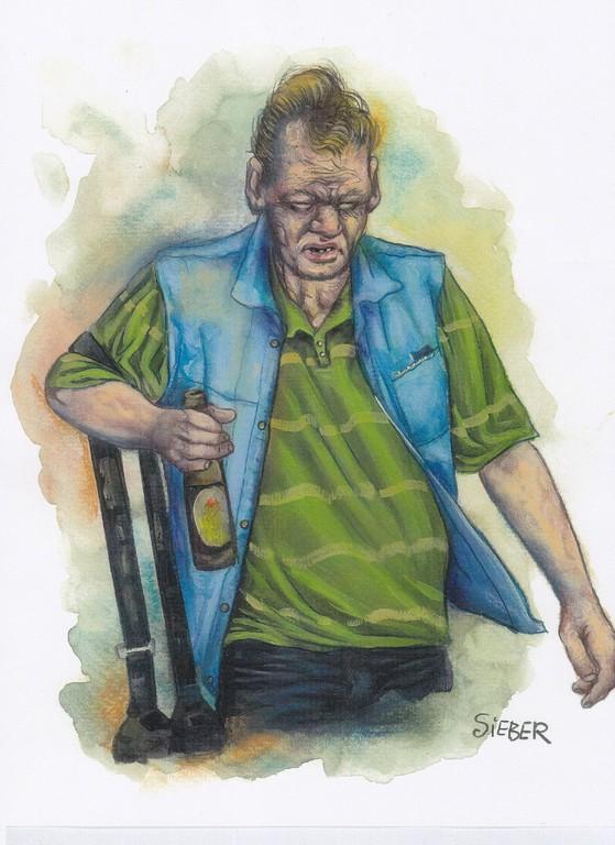 Zeichnung 204  Bierchen to go  Aquarell, Kreide und Acryl,2009,  24 x 34 cm
