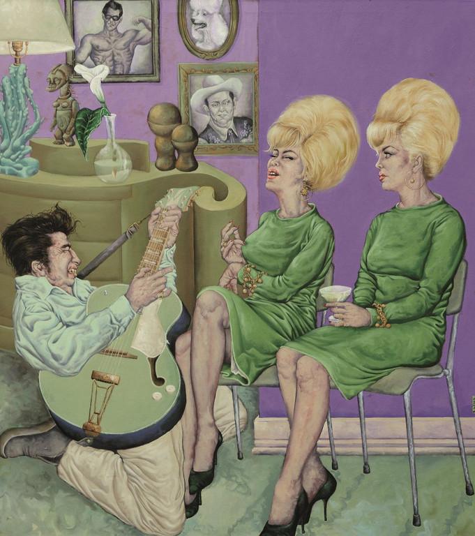 Gemälde 279 Twistgitarre u Haarbomben  Acryl auf Leinw.,2009,145 x 160 cm