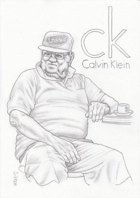Zeichnung 446  Calvin Klein  Graphit  auf Karton,2011,  21x30 cm