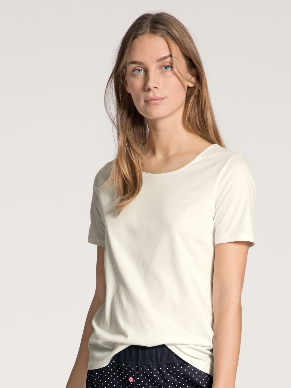 14038 910 tee-shirt crème rose 100% coton supima Prix : 39.95 €